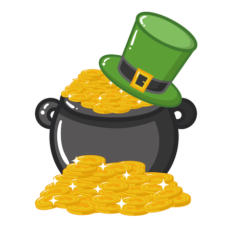 cauldron coins hat happy st patricks day vector illustration