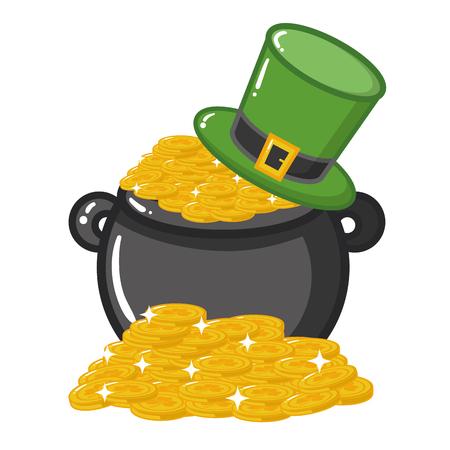 cauldron coins hat happy st patricks day vector illustration