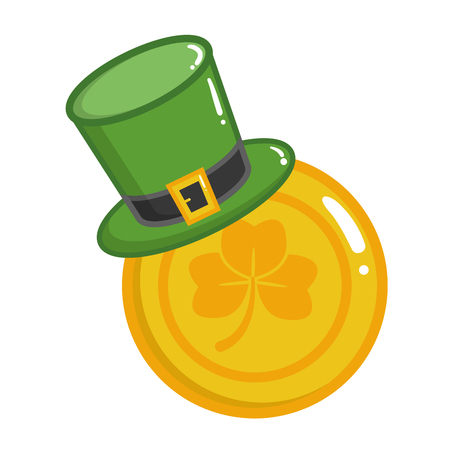 hat coins clover happy st patricks day vector illustration