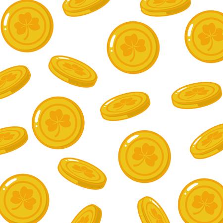 background golden coins happy st patricks day vector illustration