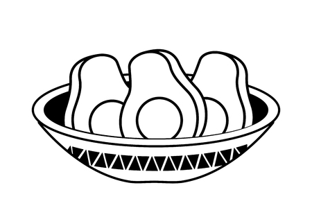 avocados in bowl mexican food traditional vector illustration