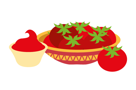 tomatoes and sauce mexican food traditional vector illustration Stock fotó - 126014827