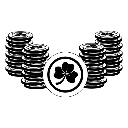 coins clover happy st patricks day vector illustration