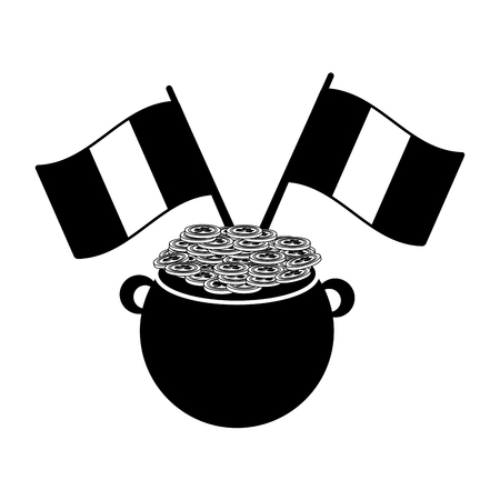 cauldron coins ireland flags happy st patricks day vector illustration