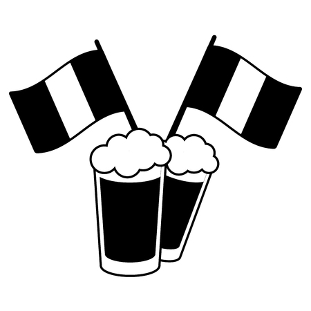 two beer glasses flags on white background vector illustration