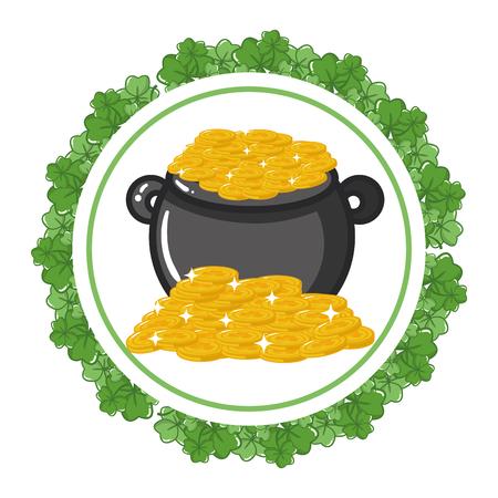 cauldron coins clover frame happy st patricks day vector illustration