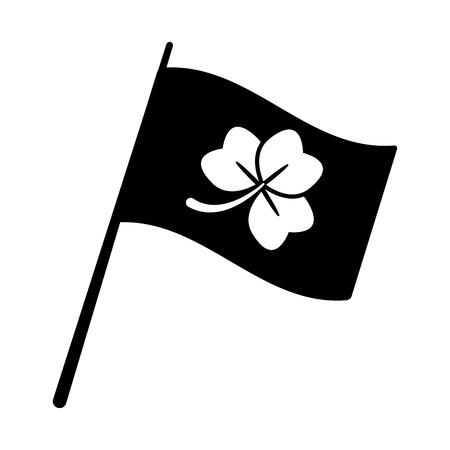 flag clover happy st patricks day vector illustration