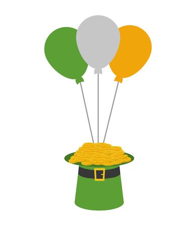 hat coins balloons happy st patricks day vector illustration