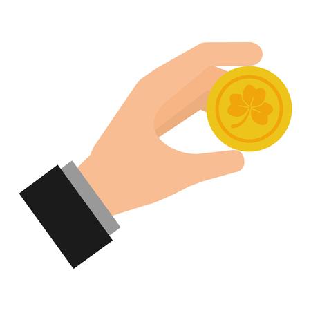 hand holding coin clover happy st patricks day vector illustration Illustration