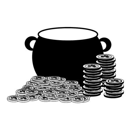 cauldron coins happy st patricks day vector illustration Foto de archivo - 115570243