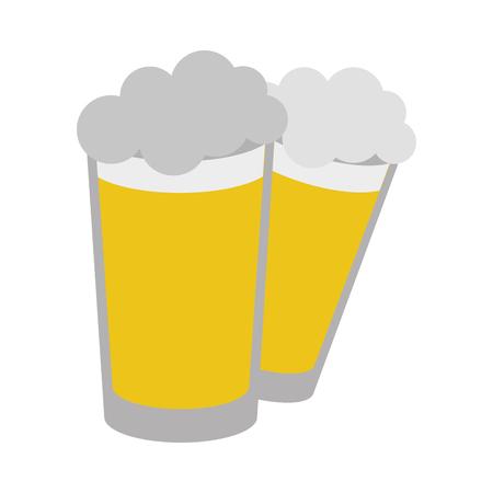 two beer glasses beverages on white background vector illustration Vettoriali