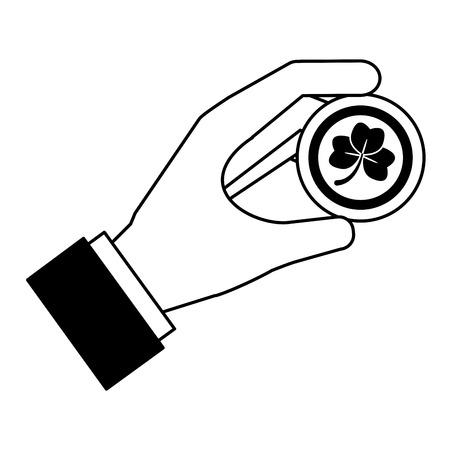 hand holding coin clover happy st patricks day vector illustration Archivio Fotografico - 126014899
