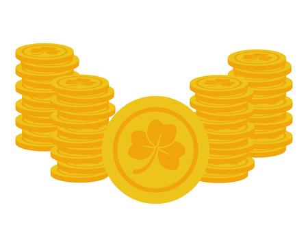 coins clover happy st patricks day vector illustration