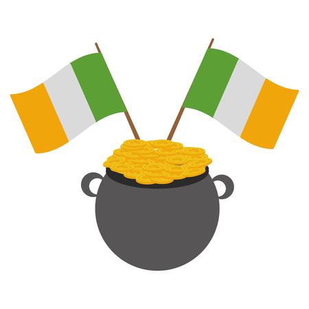 cauldron coins ireland flags happy st patricks day vector illustration Foto de archivo - 115570266