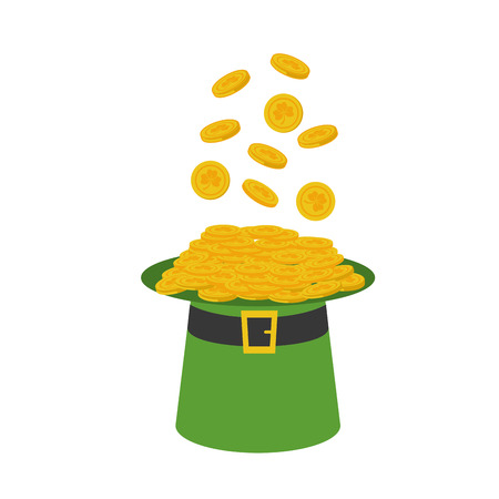filled hat with coins happy st patricks day vector illustration