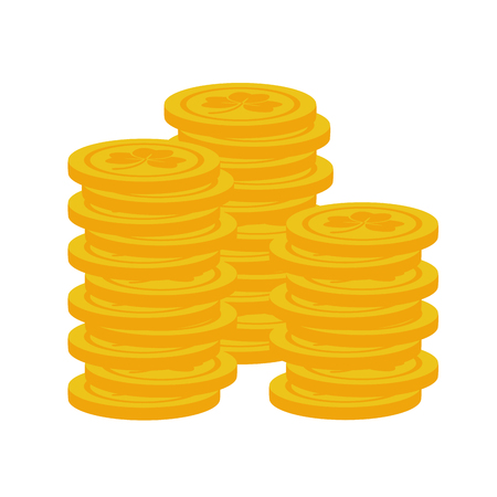 stack coins happy st patricks day vector illustration