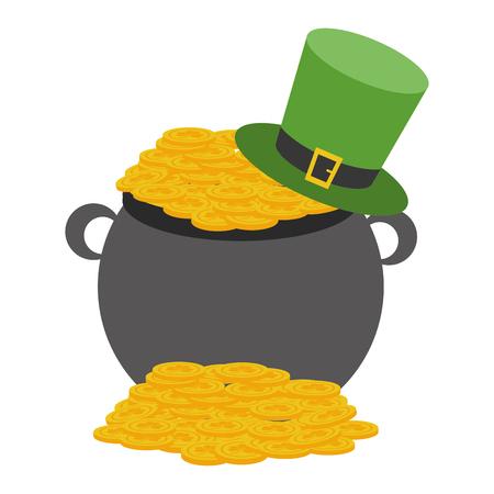 cauldron coins hat happy st patricks day vector illustration Foto de archivo - 126014917