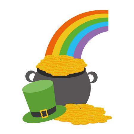 cauldron coins rainbow hat happy st patricks day vector illustration
