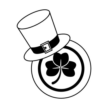 hat coin clover happy st patricks day vector illustration Vectores