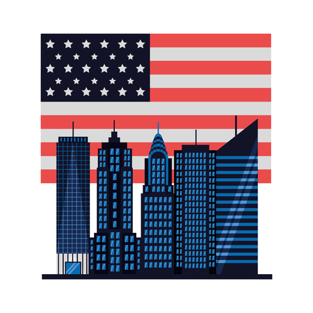 american city new york flag vector illustration