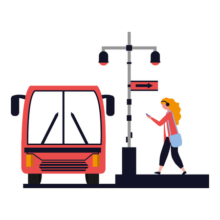 woman with mobile bus station lights sign vector illustration