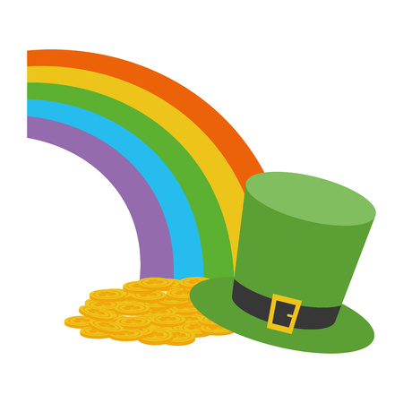 rainbow coins hat happy st patricks day vector illustration