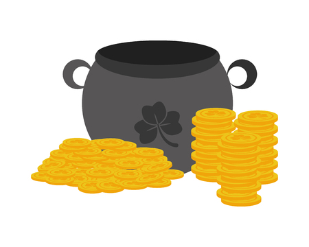 cauldron coins happy st patricks day vector illustration Foto de archivo - 126014975