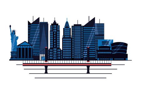 statue of liberty new york bridge skyscraper on white background vector illustration Illustration