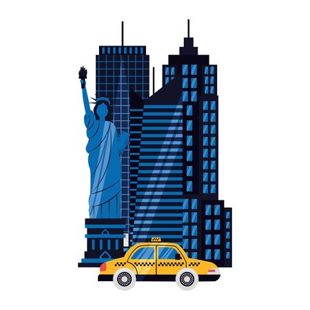 statue of liberty taxi new york skyscraper on white background vector illustration