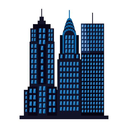 buildings facade architecture on white background vector illustration Ilustração