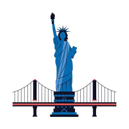 new york city statue of liberty and bridge vector illustration  イラスト・ベクター素材