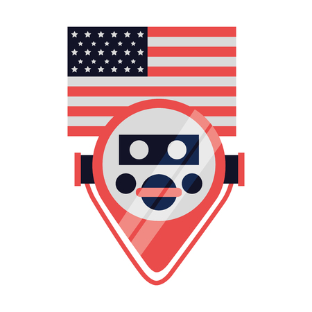 binocular viewer new york american flag vector illustration