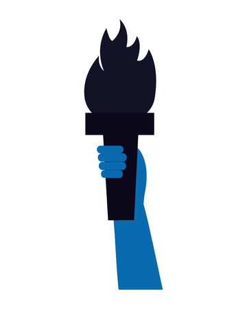 hand with torch on white background vector illustration