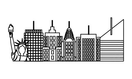 statue of liberty city new york skyscraper on white background vector illustration