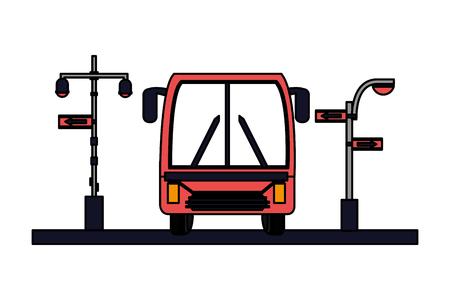bus traffic light arrows sign vector illustration