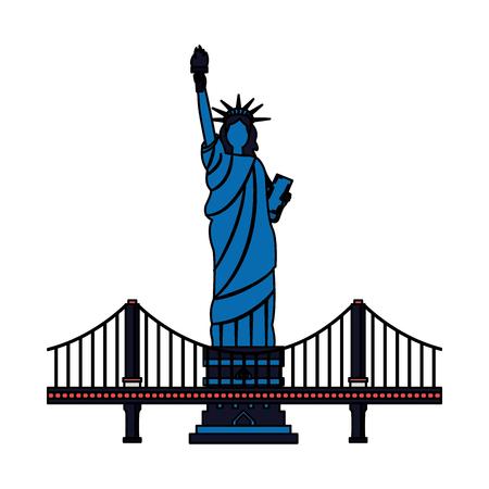 estatua de la libertad de la ciudad de nueva york y puente ilustración vectorial