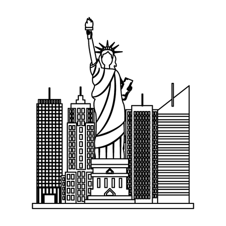 statue of liberty city new york skyscraper on white background vector illustration