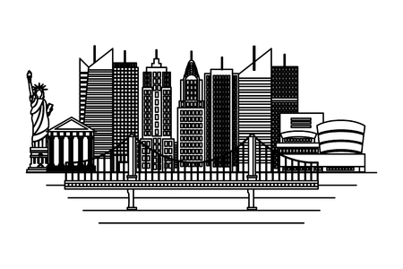statue of liberty new york bridge skyscraper on white background vector illustration Ilustracja