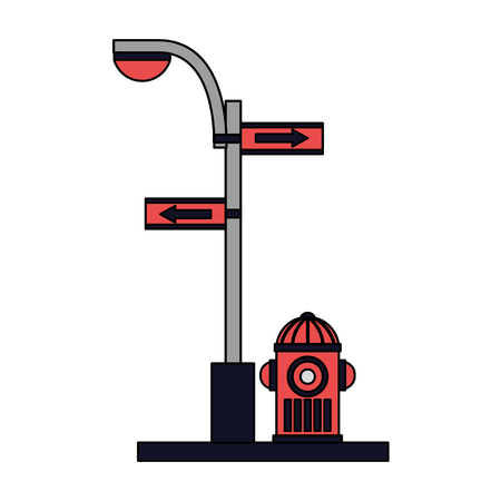 fire water hydrant light pole arrow traffic vector illustration
