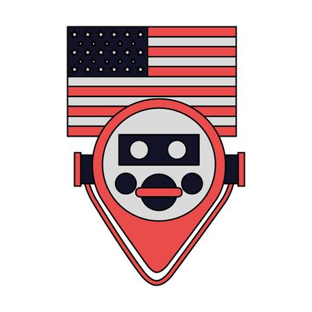 Visor binocular ilustración de vector de bandera americana de Nueva York