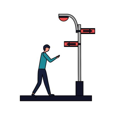 man walking street sign arrow light vector illustration