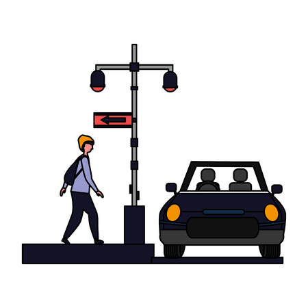 man with car lights sign arrow location vector illustration Illustration