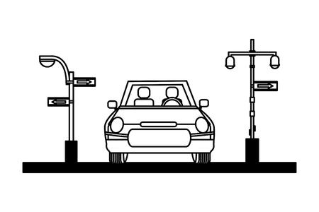 Coche semáforo flechas firman ilustración vectorial