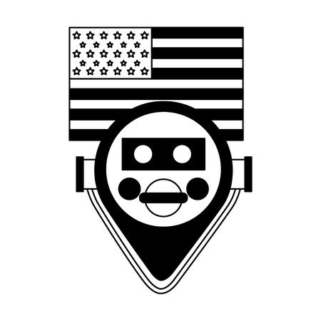 binocular viewer new york american flag vector illustration