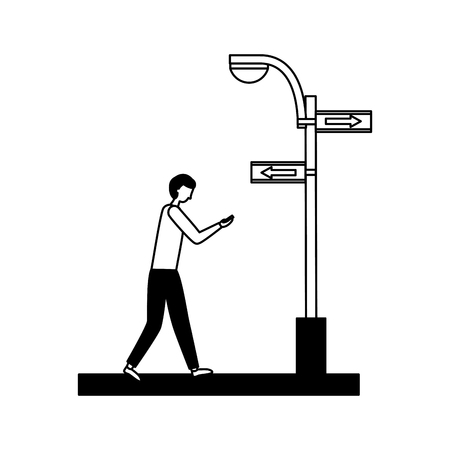 man walking street sign arrow light vector illustration Foto de archivo - 126015040