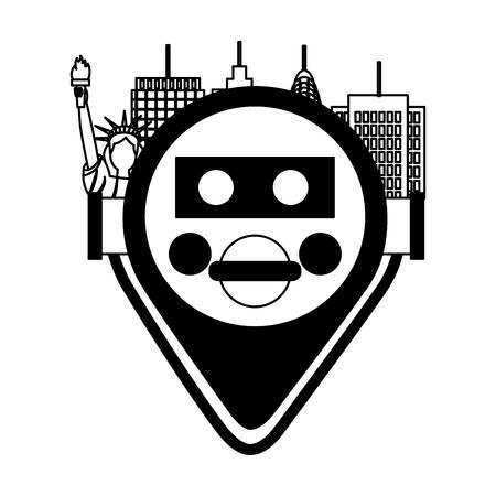 binocular viewer new york citty vector illustration