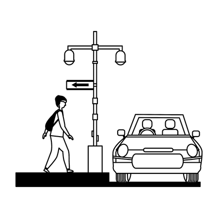 man with car lights sign arrow location vector illustration Ilustrace