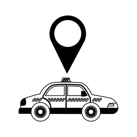 taxi transport pointer location white background vector illustration Illustration