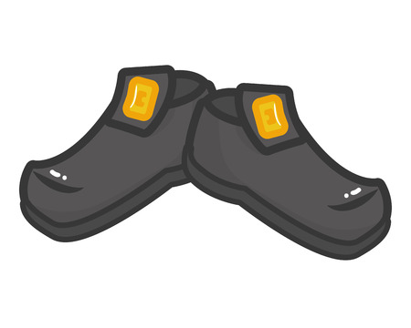 black shoes with golden buckle vector illustration