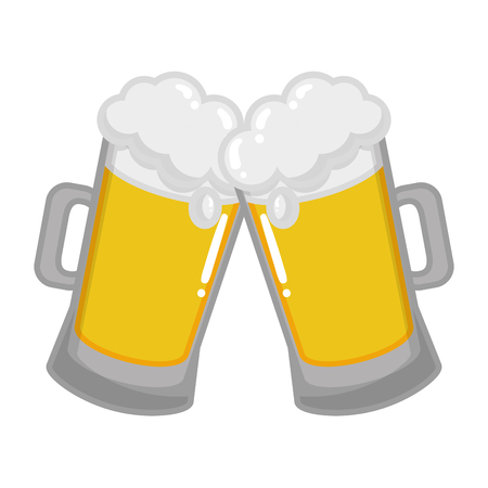 two beer mugs foam celebration vector illustration